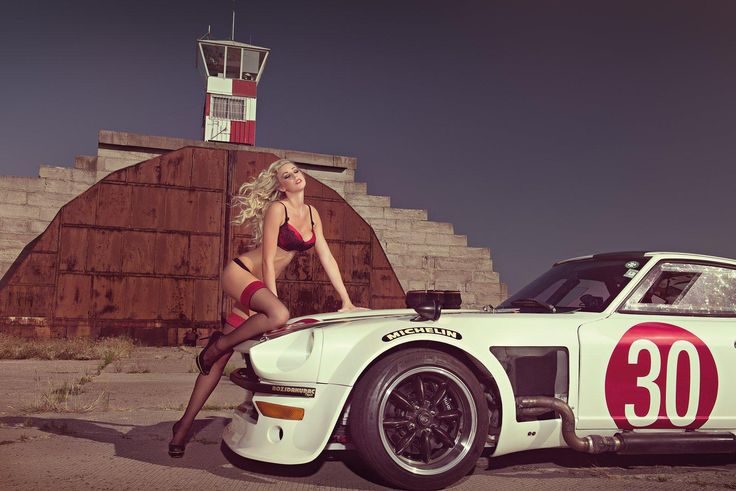Nude girl with sports car