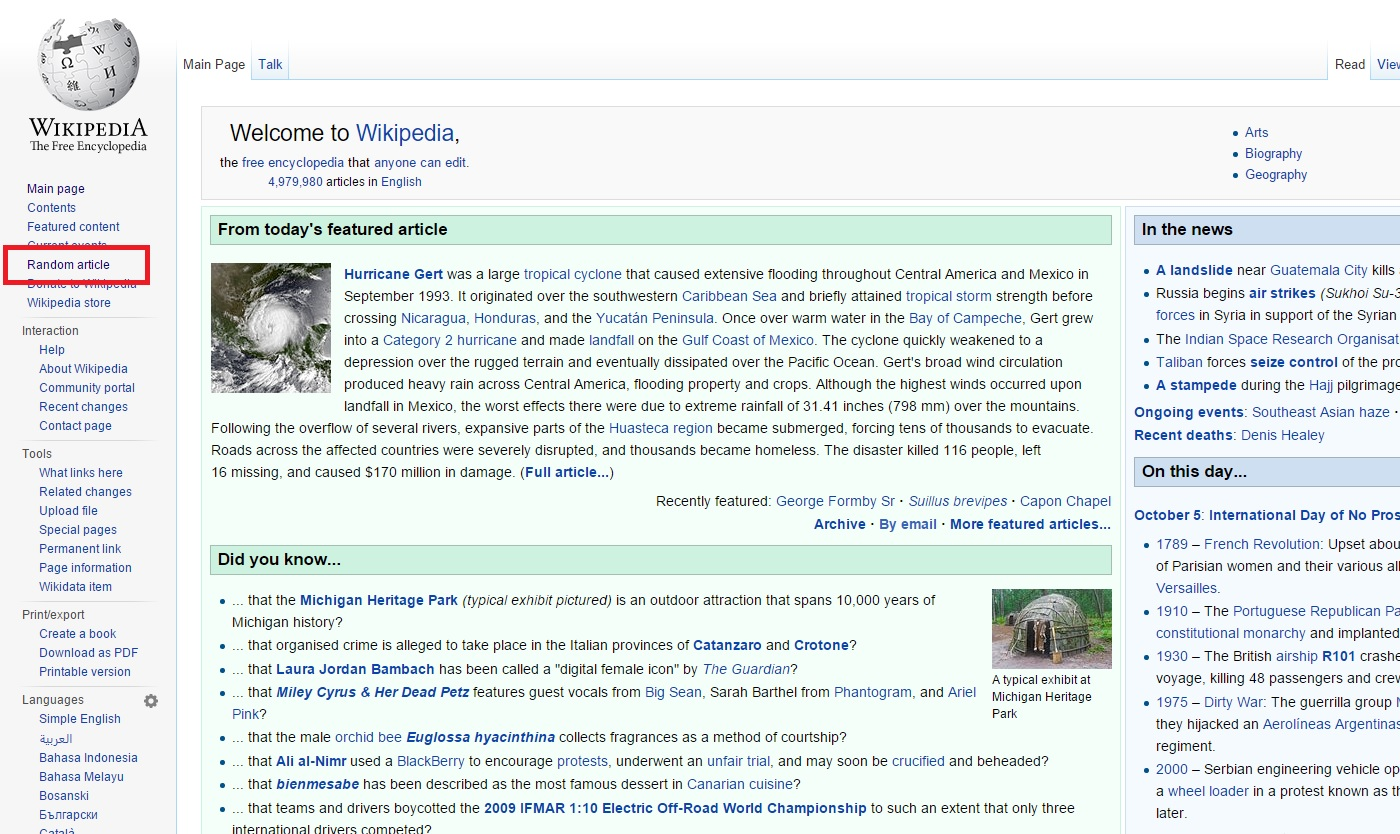 Let's play a game, get on Wikipedia, hit the random article