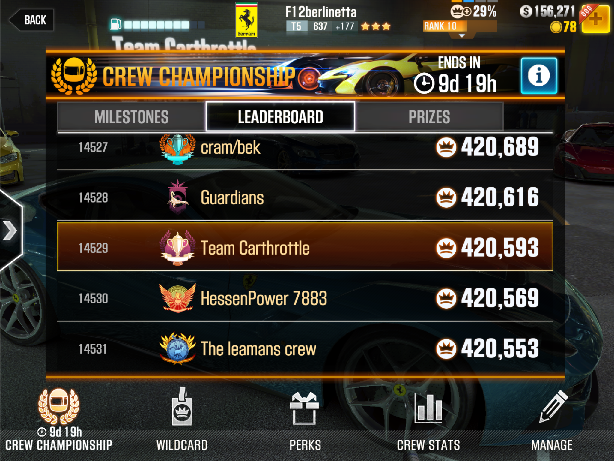 I nee 8 players to join my CSR2 crew  Send me your username and rank