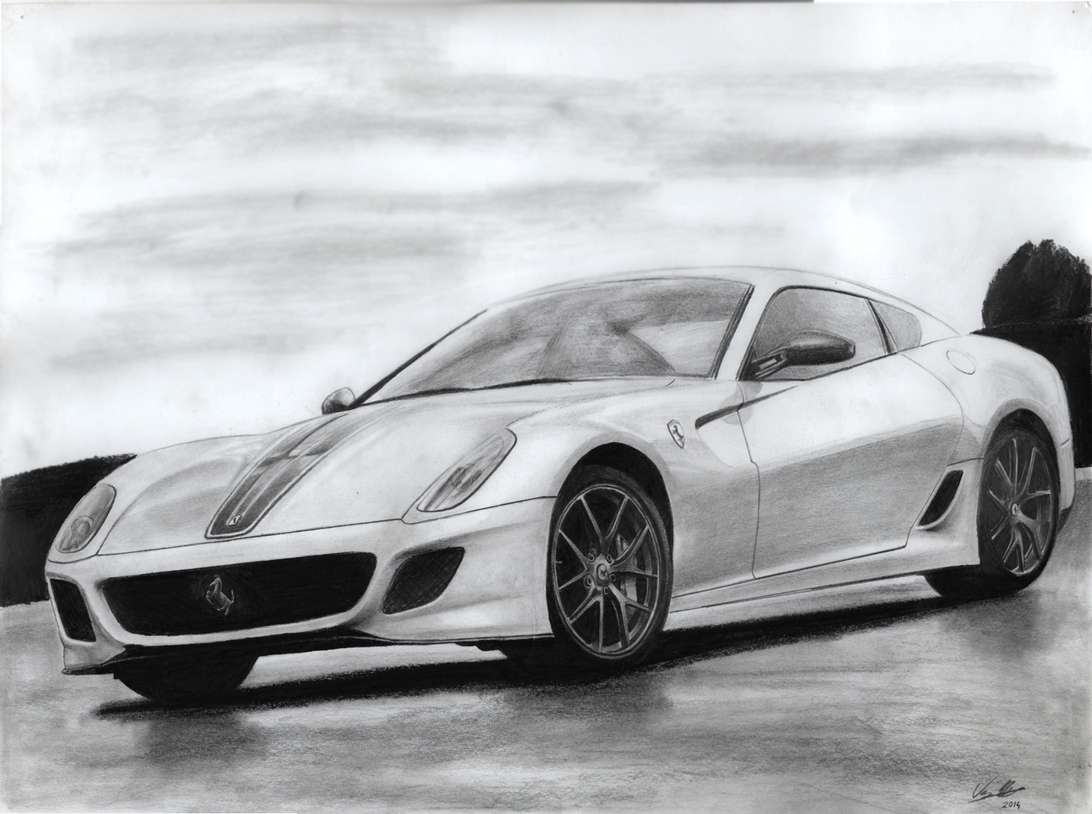 Here\'s another drawing that I drew of a Ferrari 599 GTO. What you ...