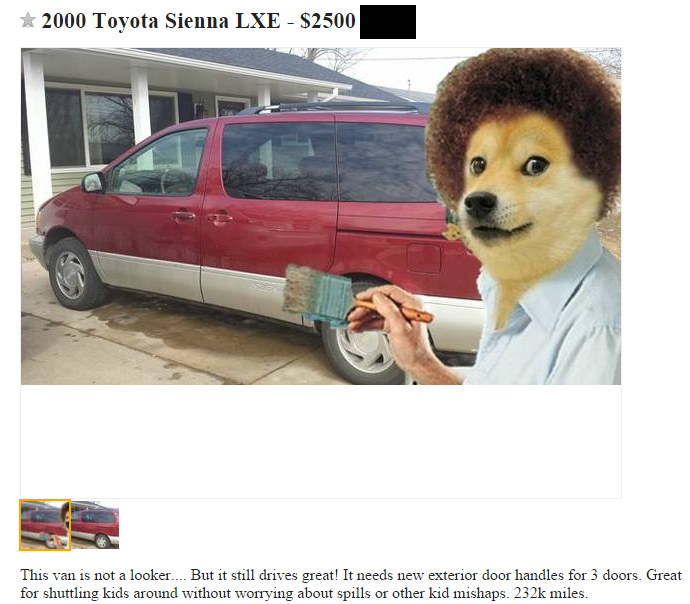 That Moment When Doge Bob Ross Wants To Sell A Car