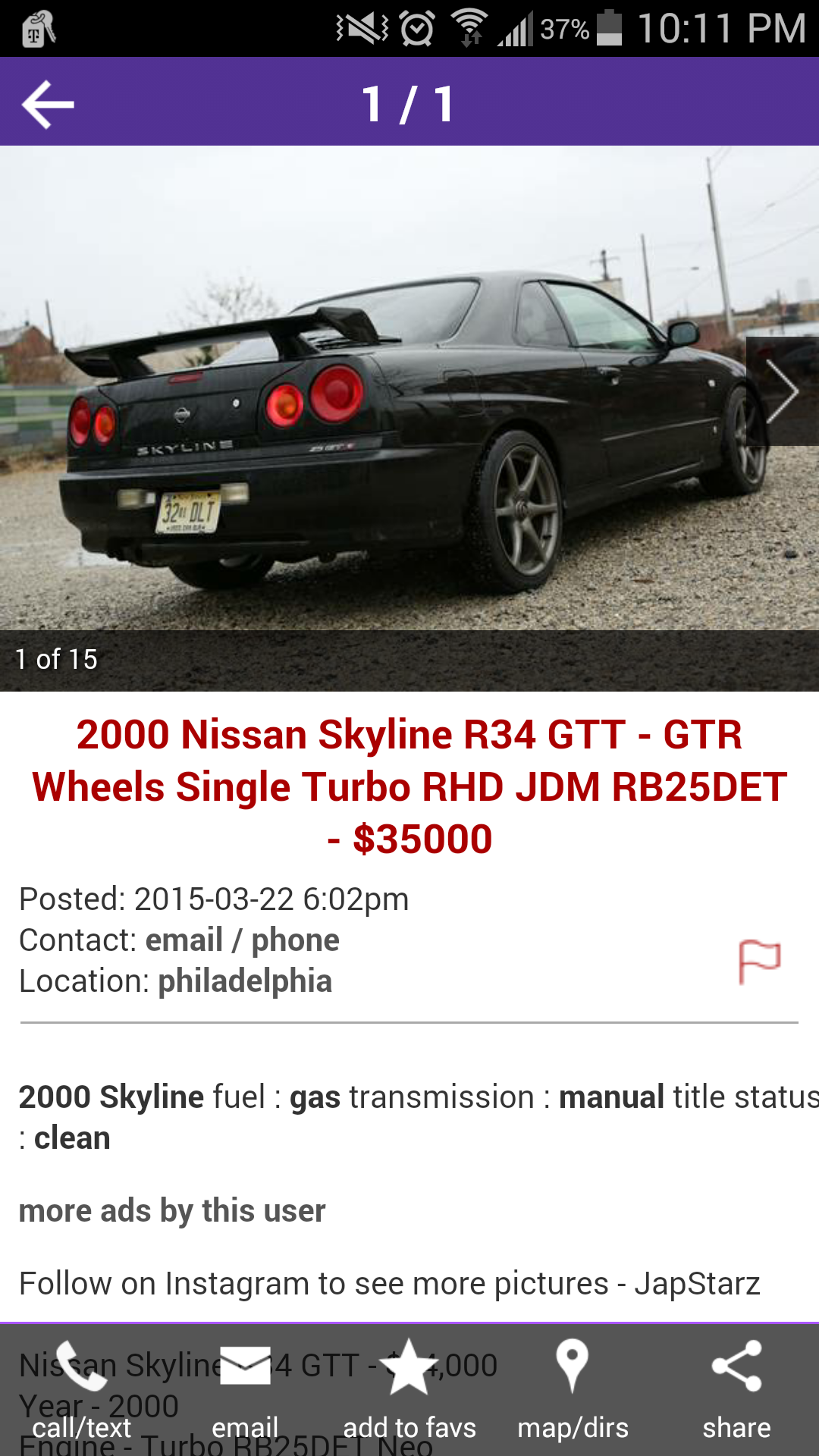 I was searching through craigslist in america and stumbled upon this r34 for sale in new jersey