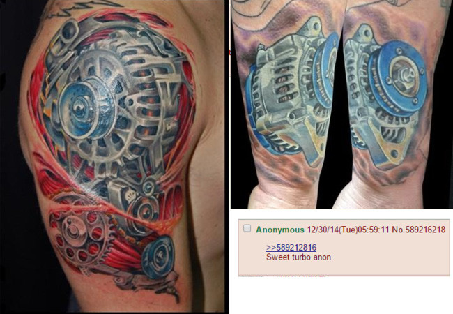 """Someone posted a photo of his """"Turbo"""" tattoo and he thought this was a turbo until someone ..."""