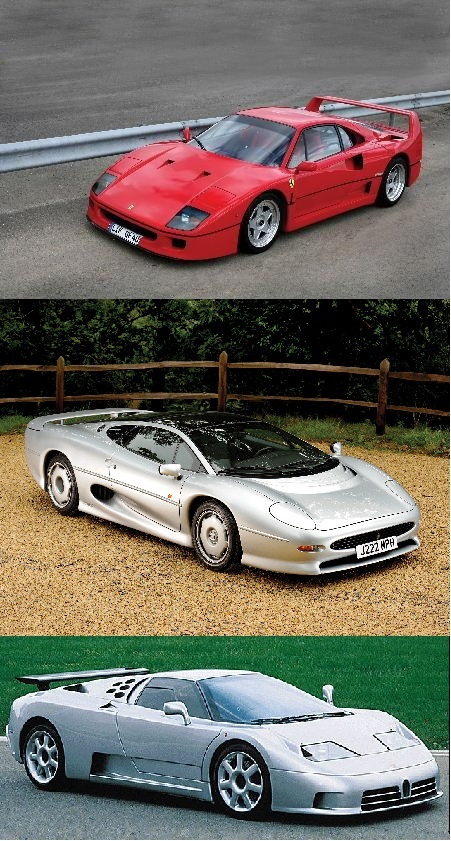 old supercar battle ferrari f40 vs jaguar xj220 vs. Black Bedroom Furniture Sets. Home Design Ideas