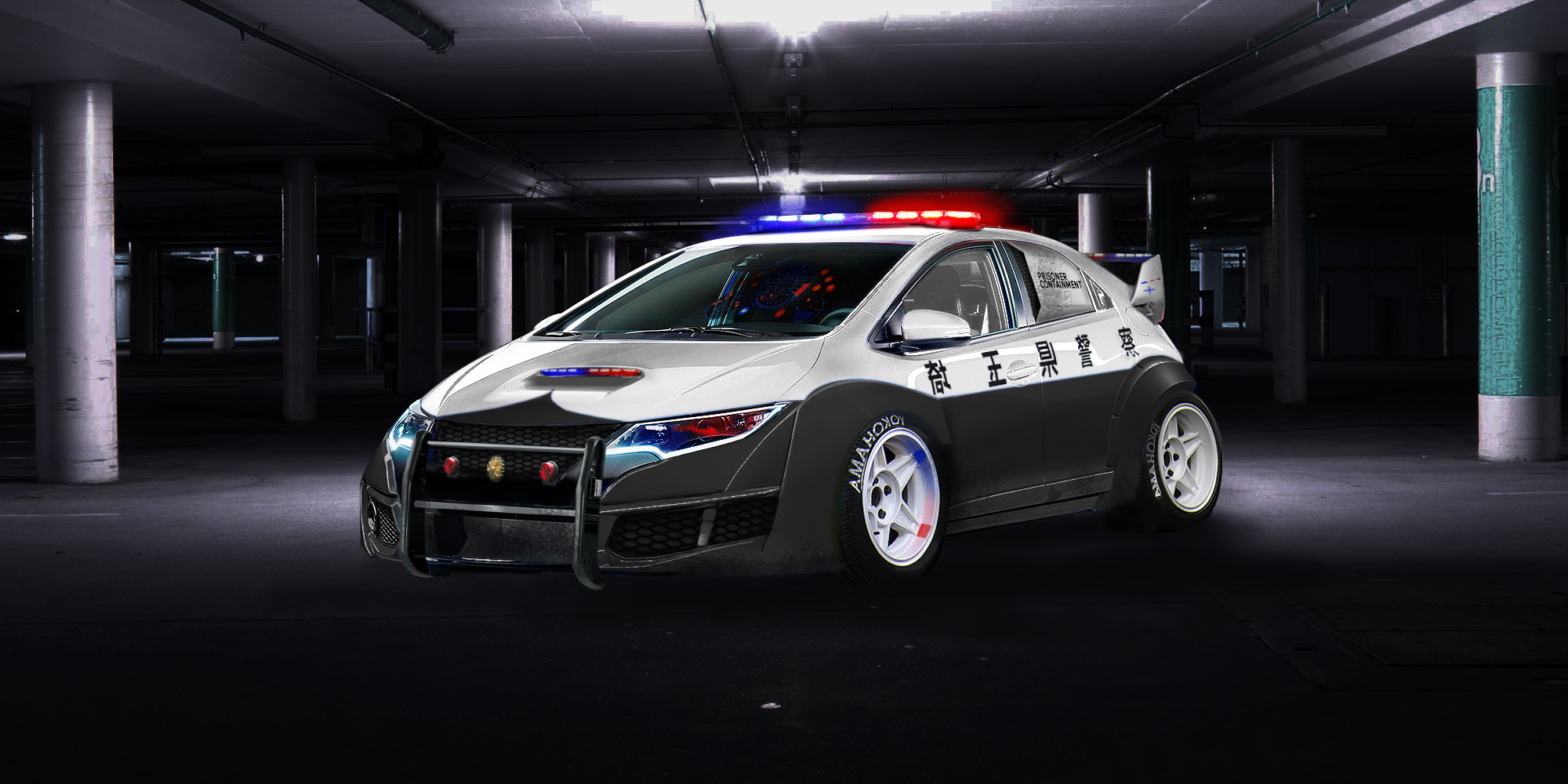 Honda civic police car wide body and lowered, definitely wont be chasing  you over speed bumps