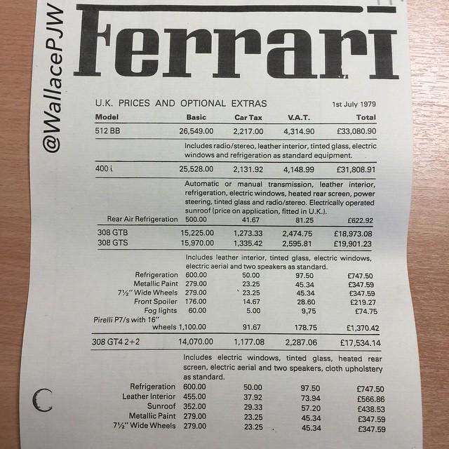 Ferrari price list
