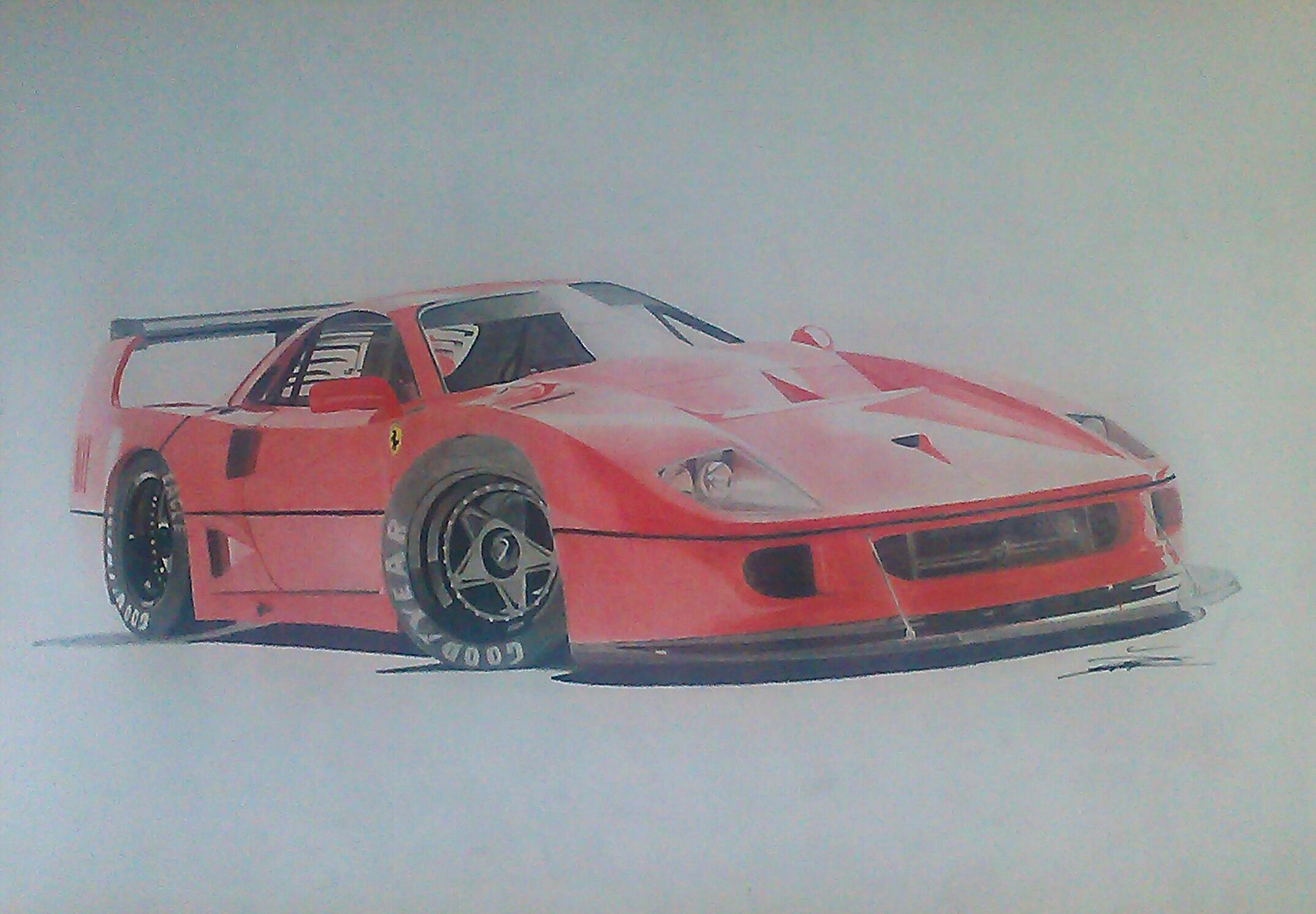 Ferrari F40 Lm Done With Colored Pencils Only