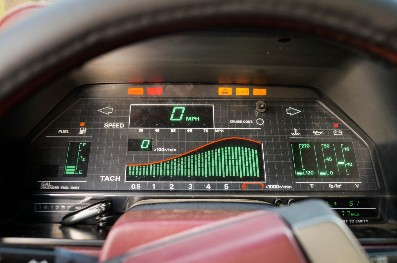 The dash of a Nissan Fairlady 300ZX Z31. The want is strong.