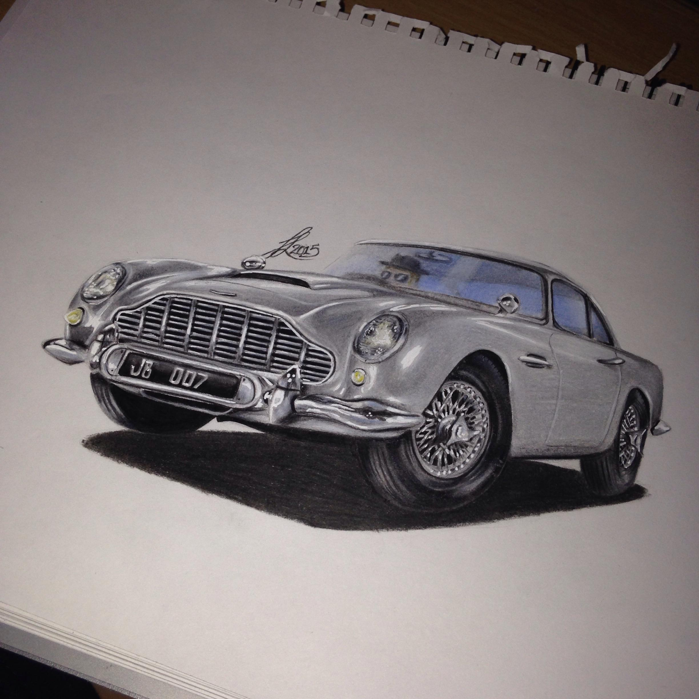 Newly Finished Aston Martin Db5 Drawing Any Comments Are Appreciated As Always Check My Instagram For More Jtl B