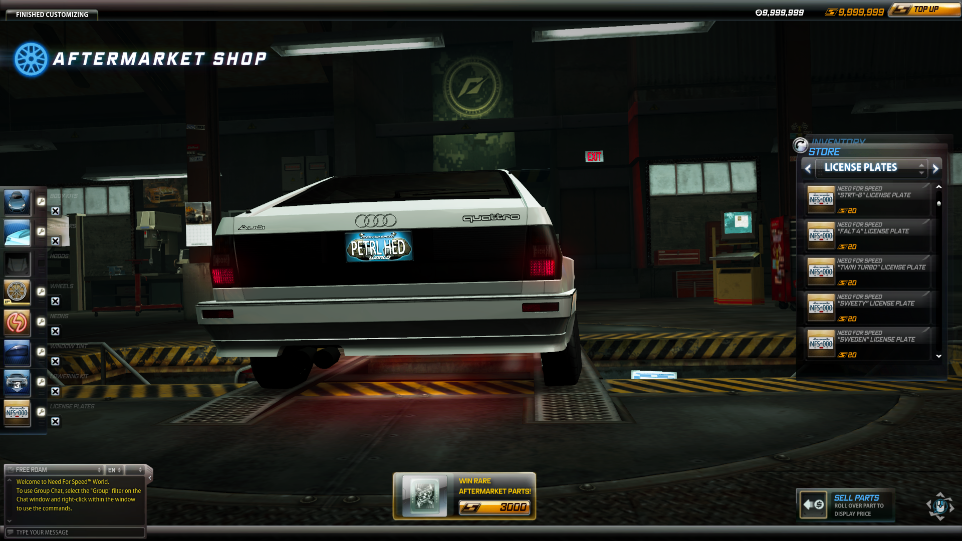 browsing through NFS World OFFLINE License plate when