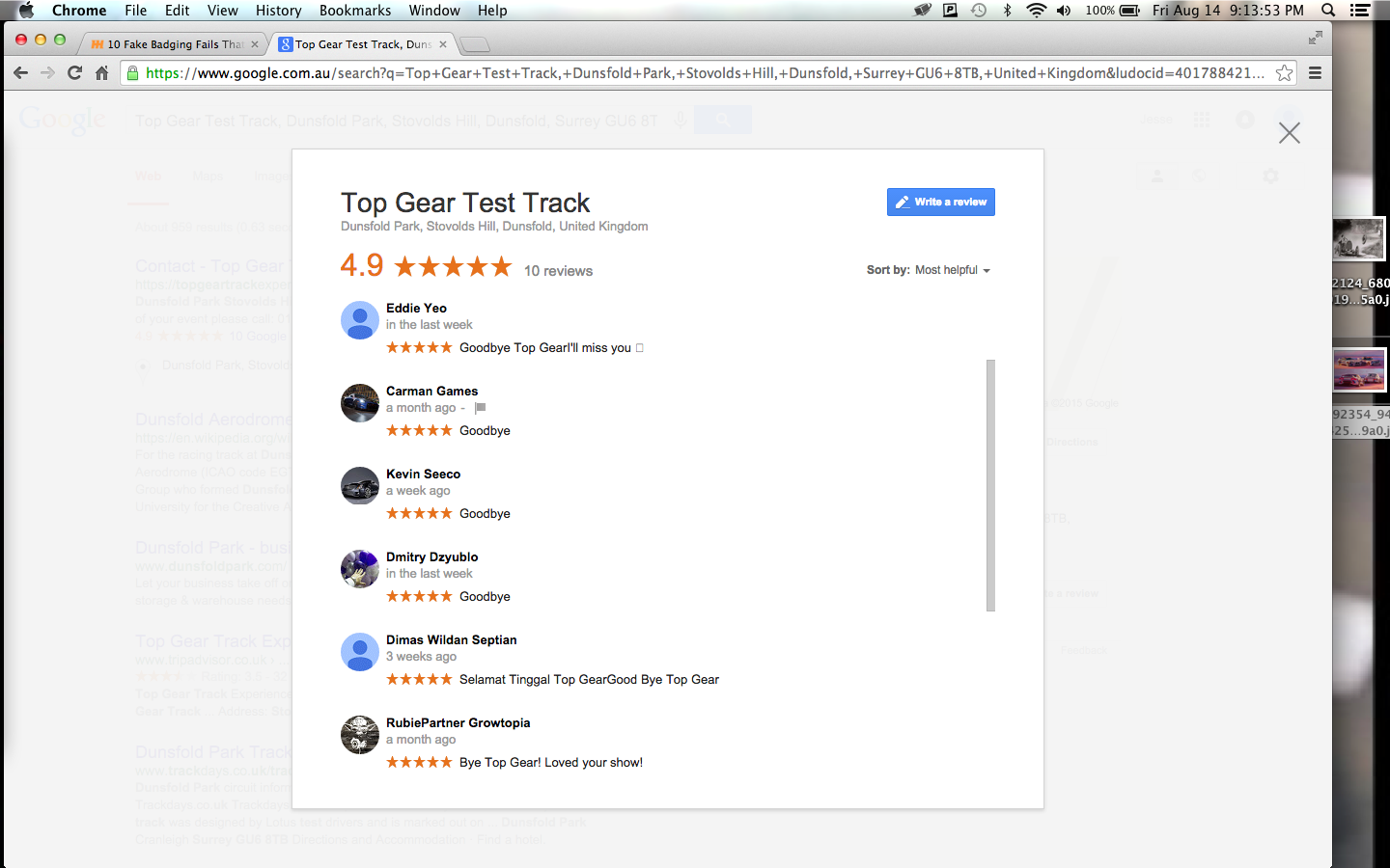 I just looked up Top Gear Test Track on google maps and