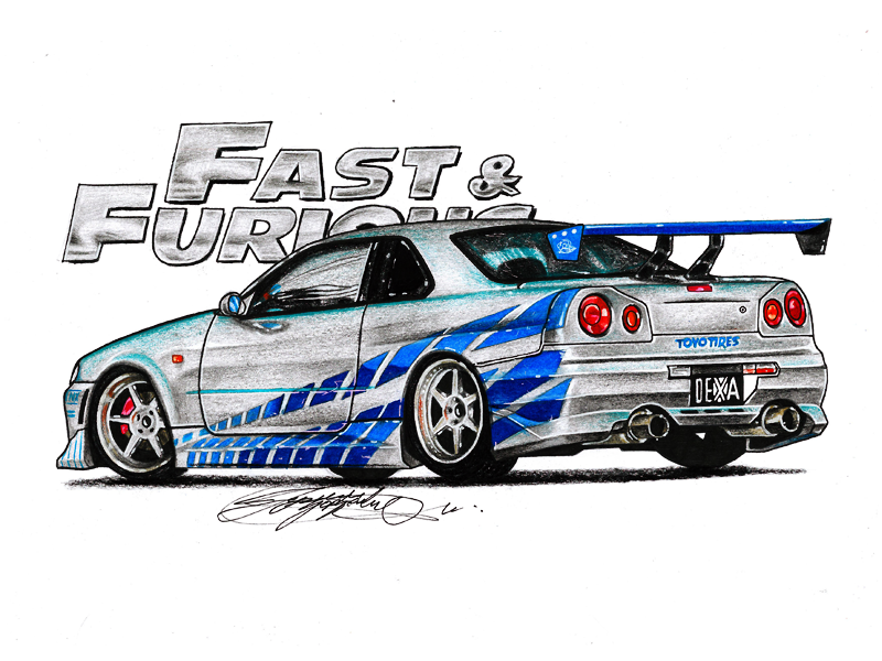 my new drawing nissan skyline r34 from fast and furious hope you like it - Fast And Furious Cars Skyline