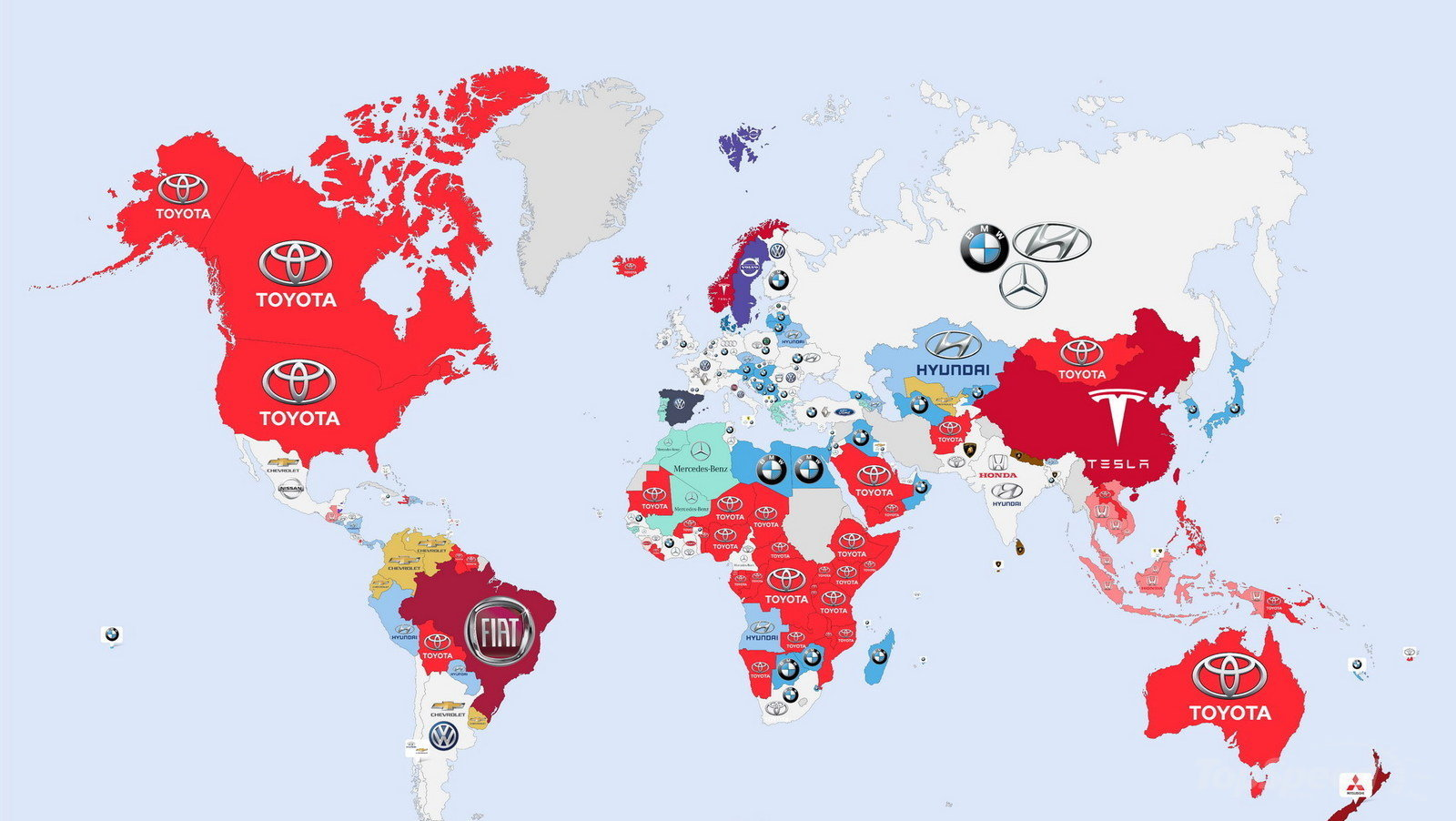 Most Detailed World Map.Here S A World Map Showing The Most Googled Car Manufacturer For