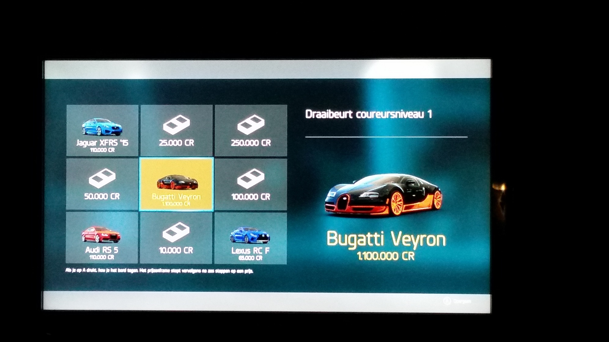 Just Bougth Forza Motorsport 6 Reached Lvl 1 And My First Wheelspin Gave Me A Bugatti Veyron Not Bad For Also Got 7 Other Cars