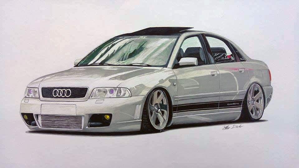 Audi S4 7 Hours Of Work 50x35cm Fb Page Car Drawings By Iker Darko