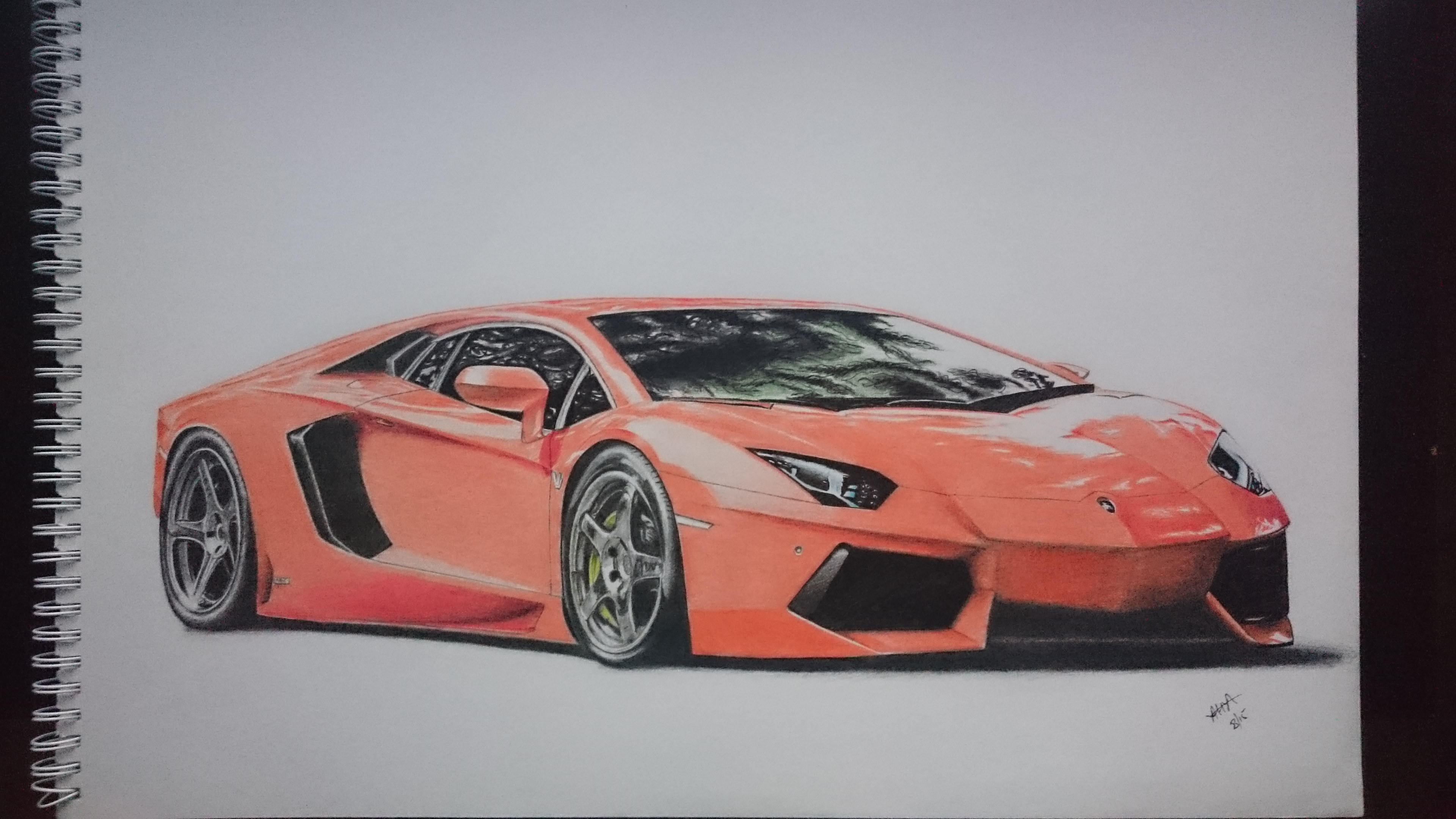 Colour a car - Lamborghini Aventador Drawing I Finished A Few Months Ago Page Size Is A3 Done With Colour Pencils And Took About 20 25 Hours Over 3 Weeks