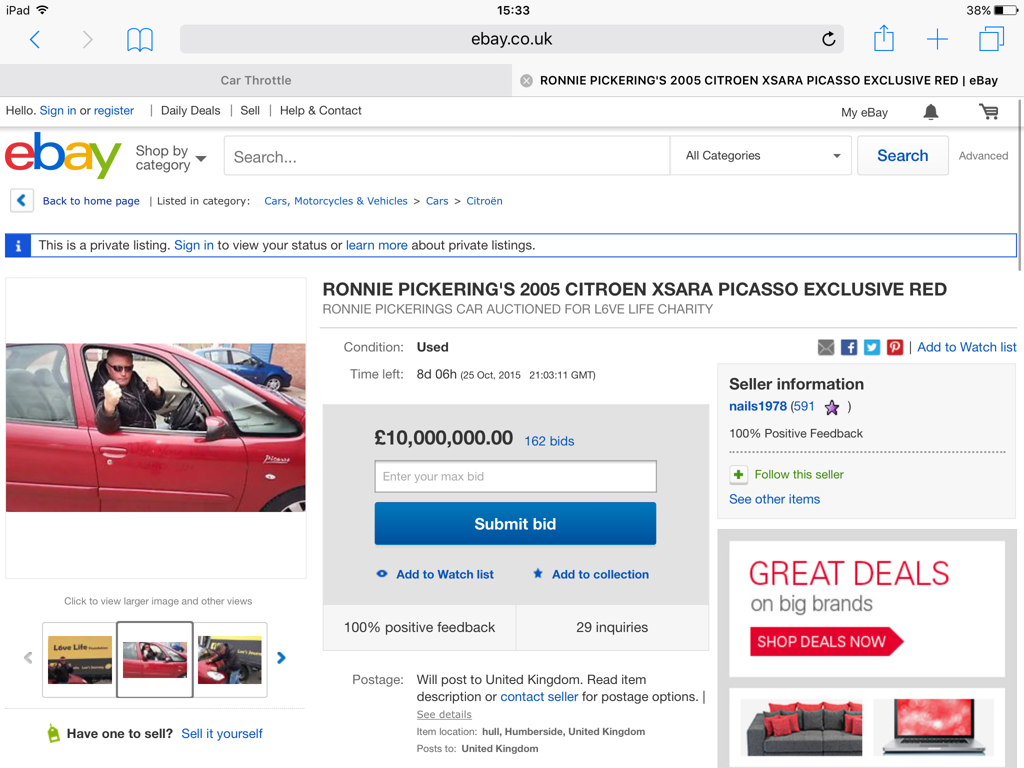 Ronnie Pickering\'s Citroen Picasso is for sale and its currently ...