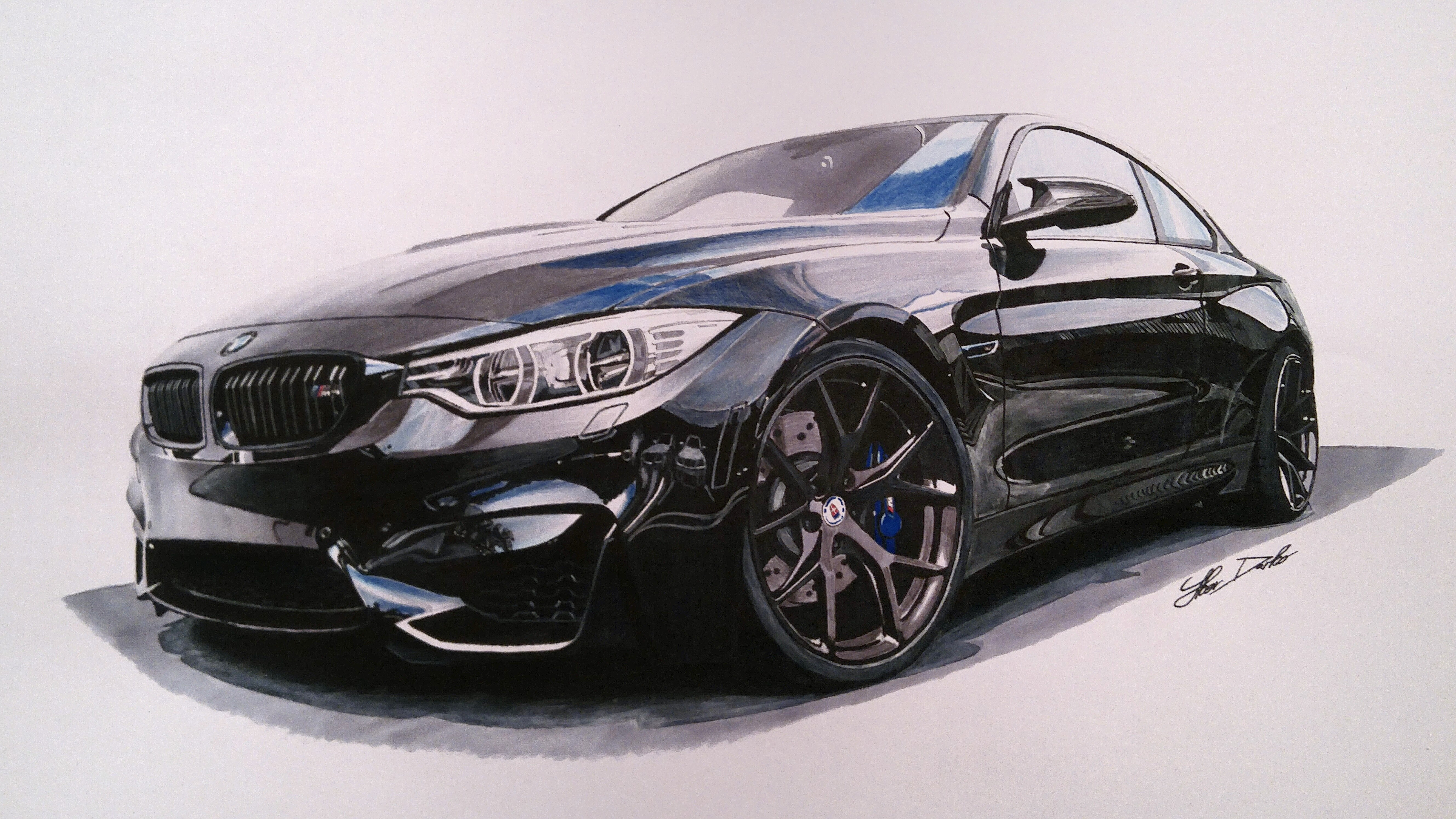 Bmw M4 50x35cm 12 Hours Of Work Fb Page Car Drawings By