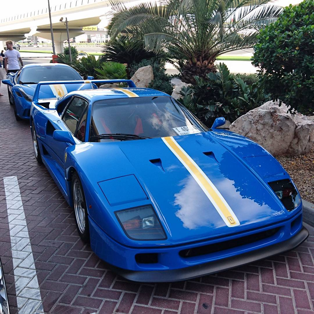 Azzurrodino Is Here With His Spectacular Ferrari F40 Freshly Painted To Match His Speciale Behind