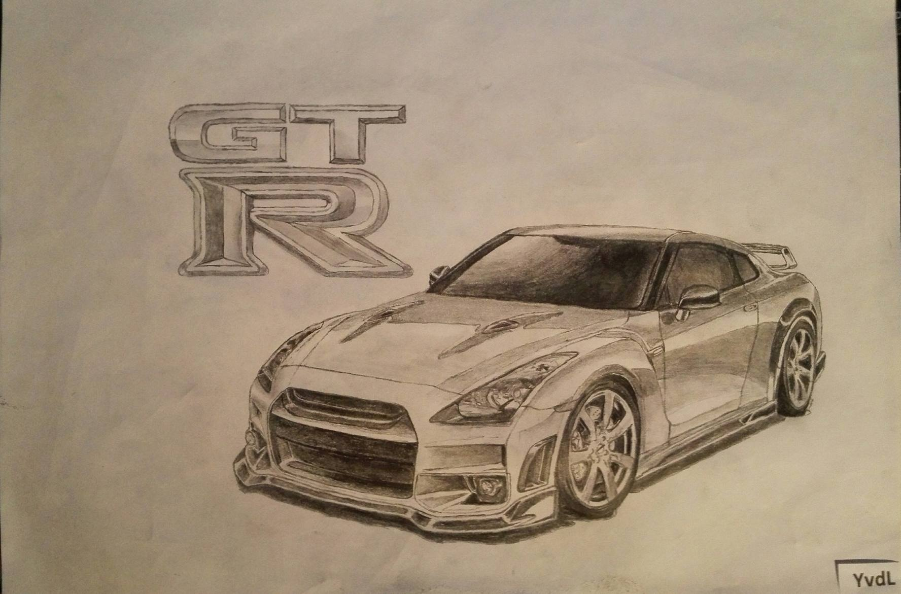 Drawing of a nissan GTR i did a couple of months ago. What ...
