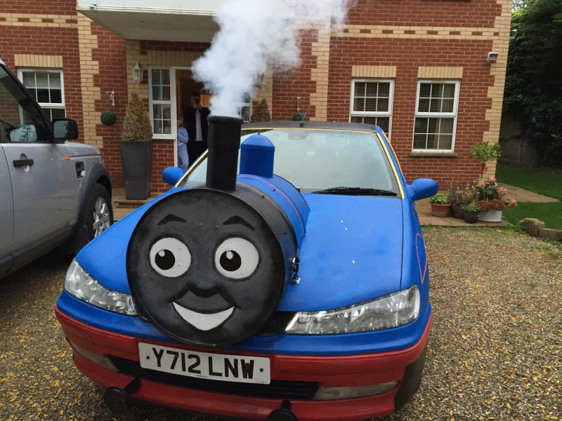 my peugeot 406 hdi thomas the tank engine car has a smoke machine in the front to look like steam. Black Bedroom Furniture Sets. Home Design Ideas