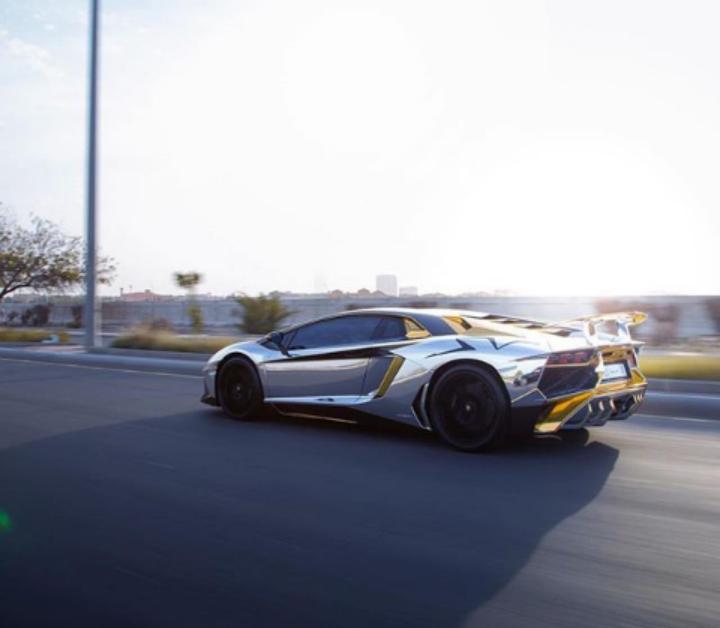 #Lamborghini Aventador SV silver chrome