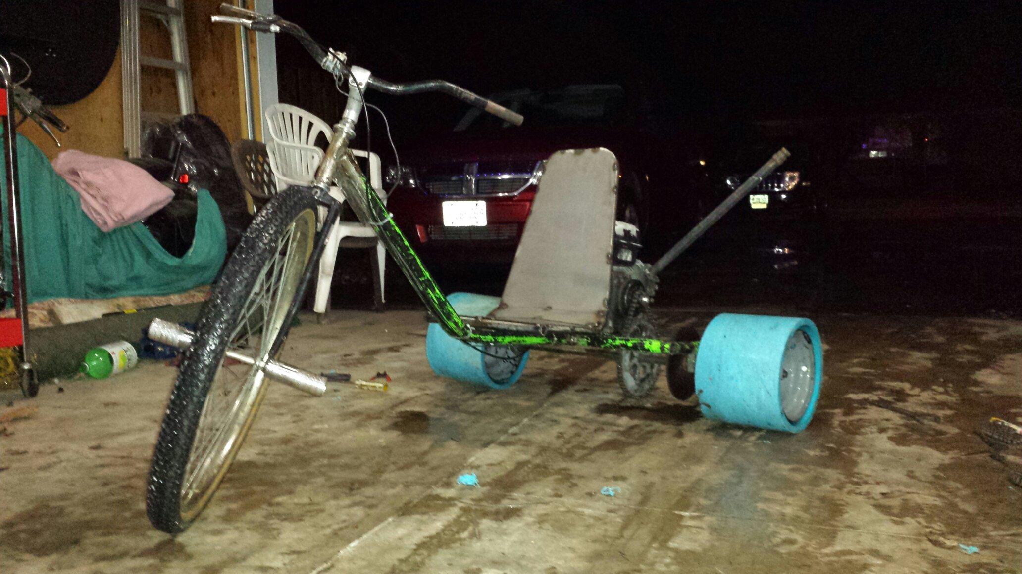 Drift trike made from an old go kart frame.