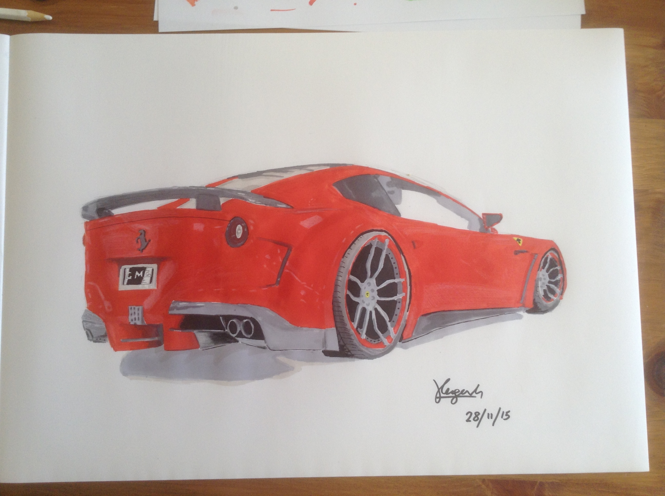 Ferrari Drawing Marker Render Now Finished Hope You Like It The