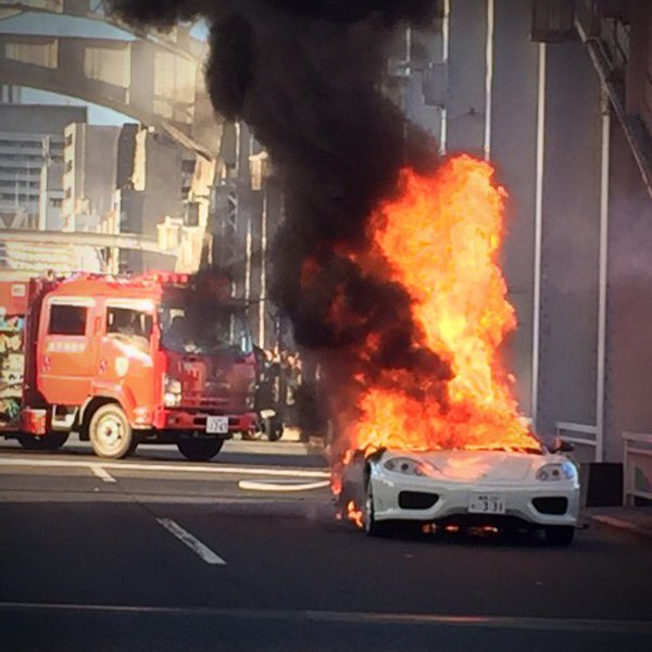 This Just In Ferrari Challenge Stradale Catches Fire At