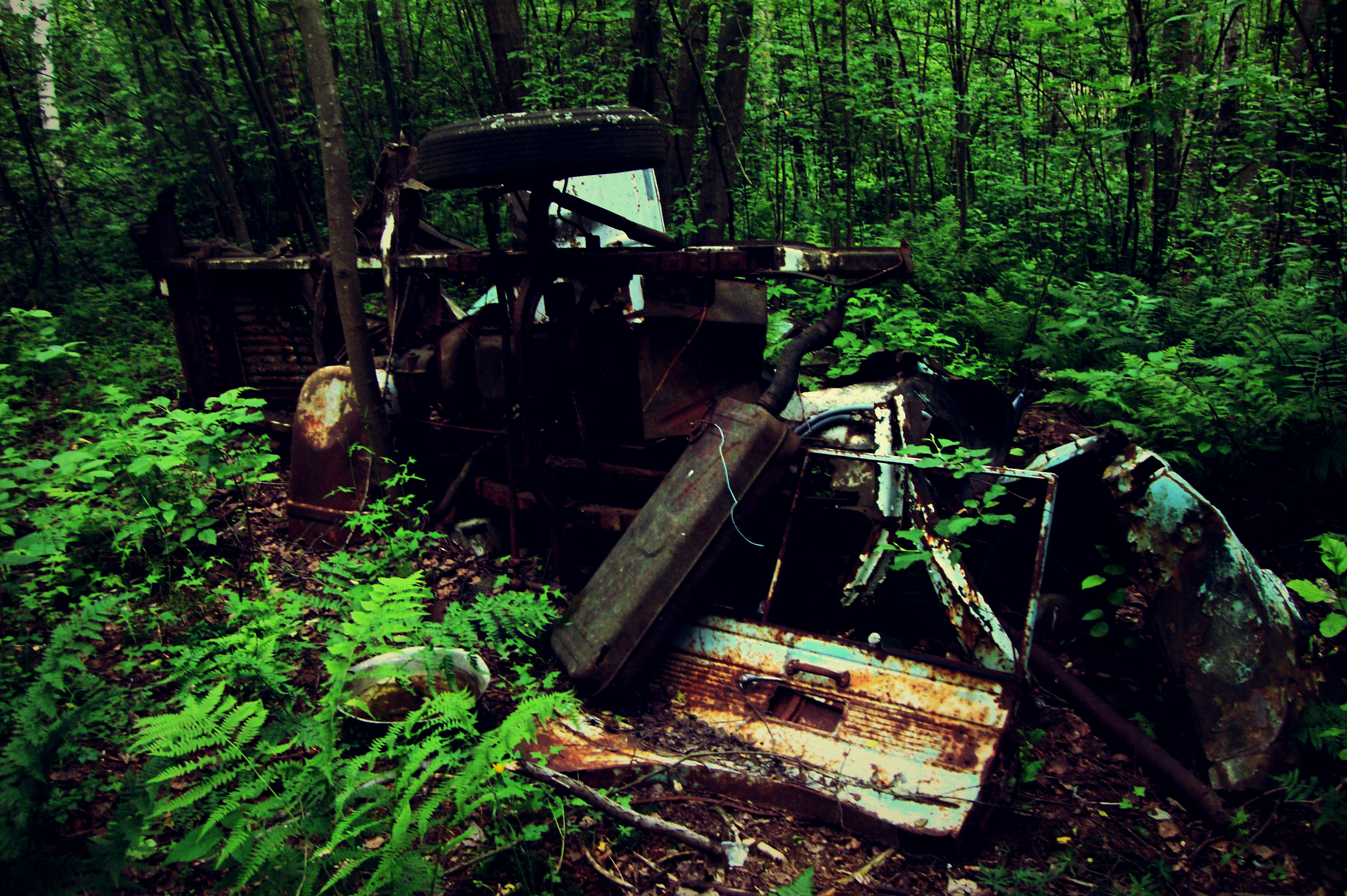 In the middle of nowhere, is where I found this old car wreck ...