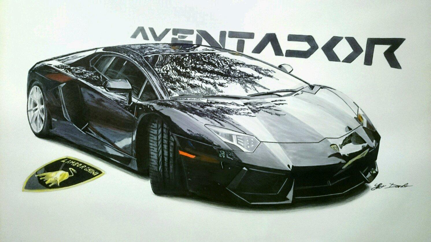 Lamborghini Aventador, 50x35cm, 7 hours of work, fb page: Car ...