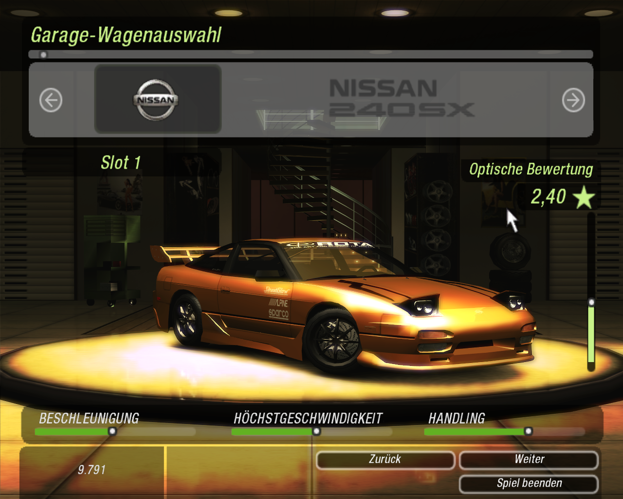 My 240sx in nfs underground 2 i tried not to rice it this time