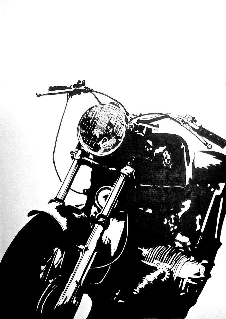 Bmw Cafe Racer Ink Drawing