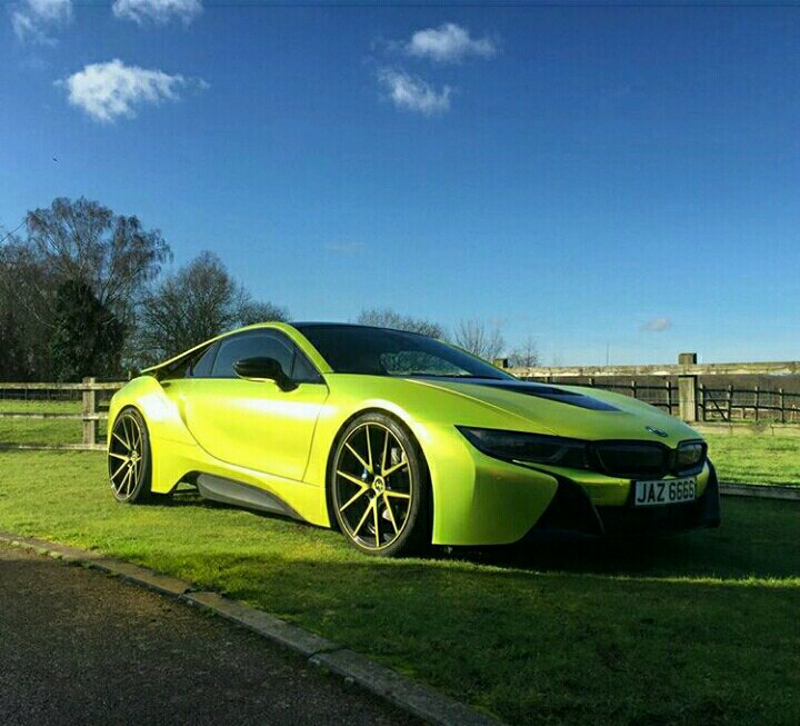 BMW I8 WRAPPED IN SATIN CHROME YELLOW BY YIANNIMIZE