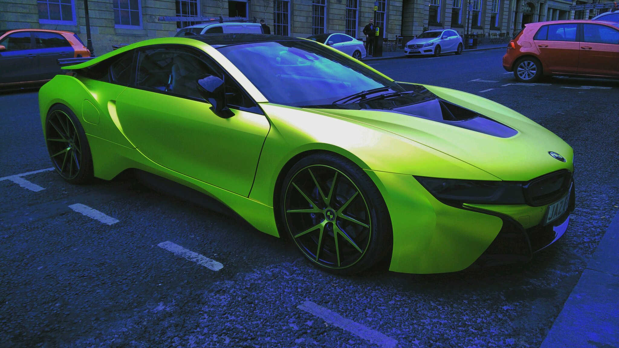 Lime Green Wrapped Bmw I8