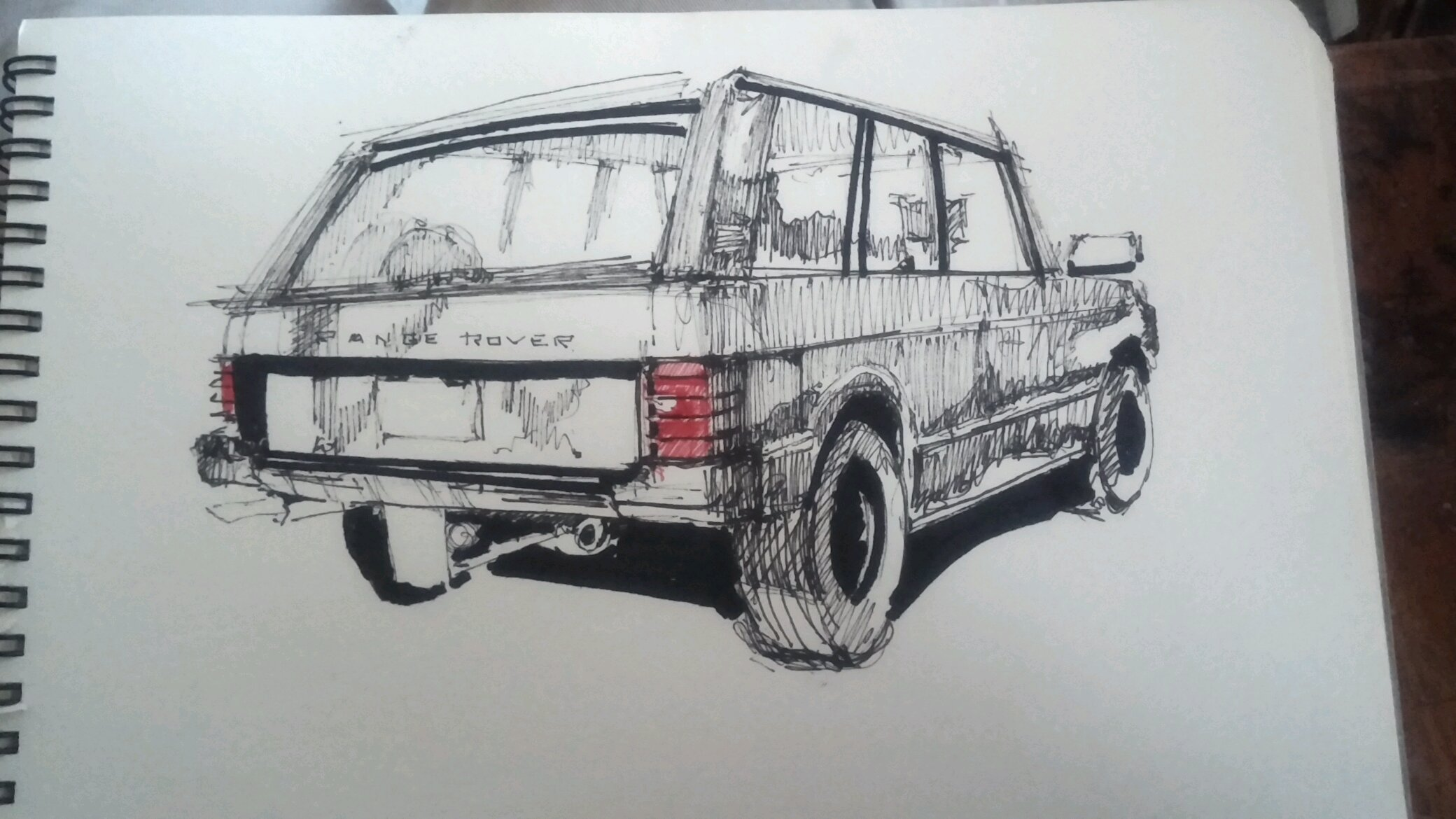 When you\'re bored in class. 15 min sketch Range Rover classic.
