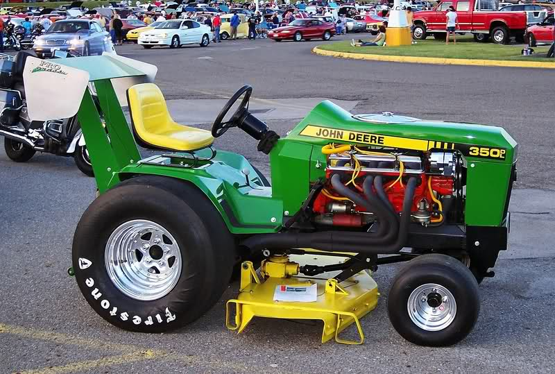 has anyone on here done a lawn mower v8 swap? if so what transmission did  you use and how did you mount it?