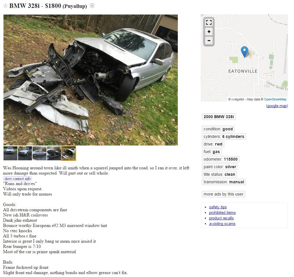 Funny BMW Craigslist AD