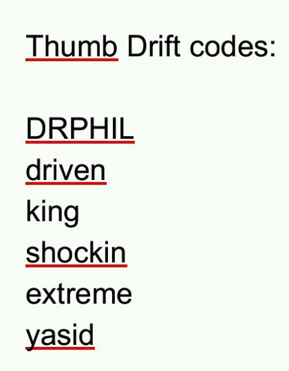 Thumb Drift Car Codes Found Untill Now