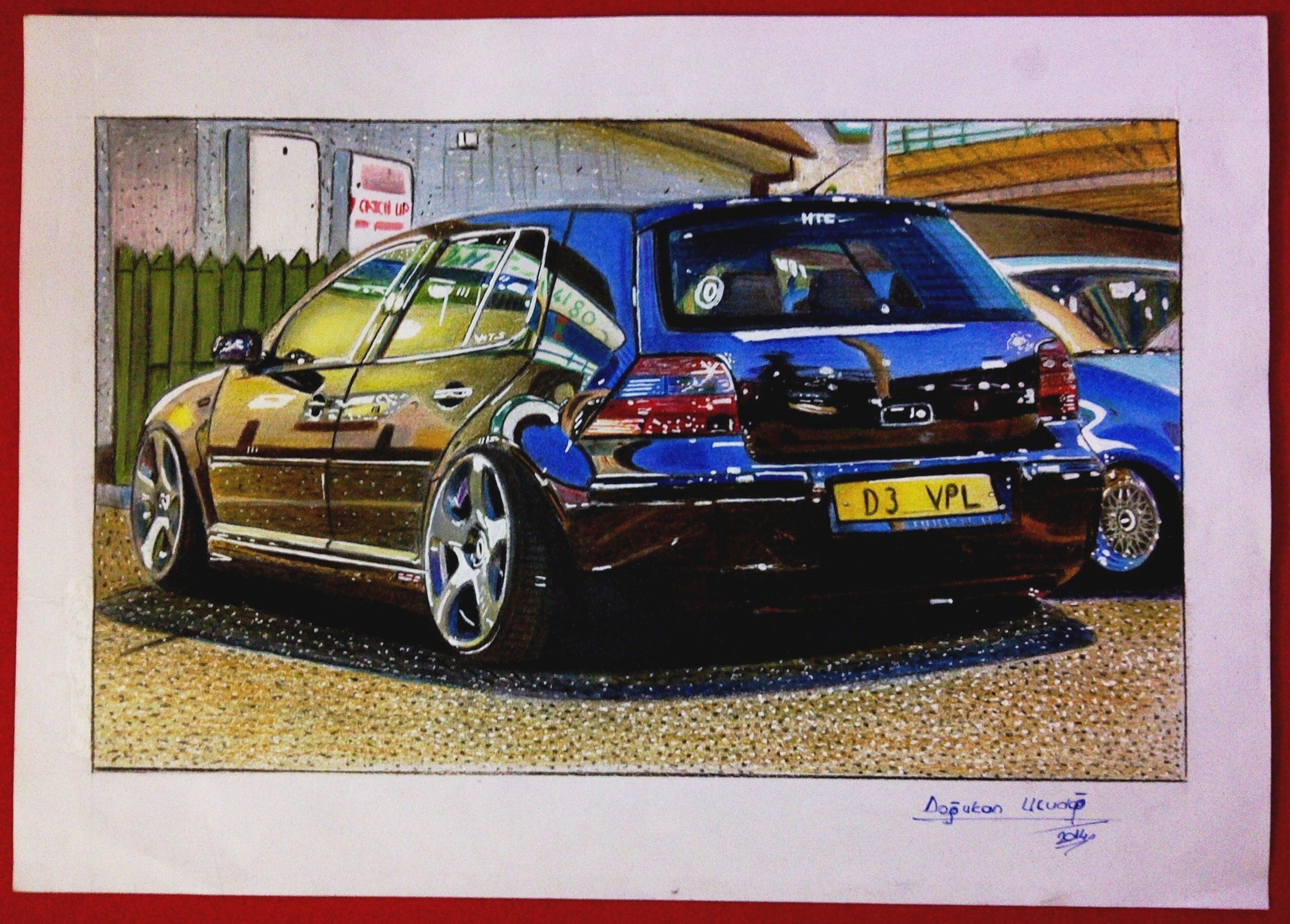 Vw Golf Mk4 Drawing From 2014 I Made It For My Close Friends Birthday Fc Art Grip White Ballpoint Pen