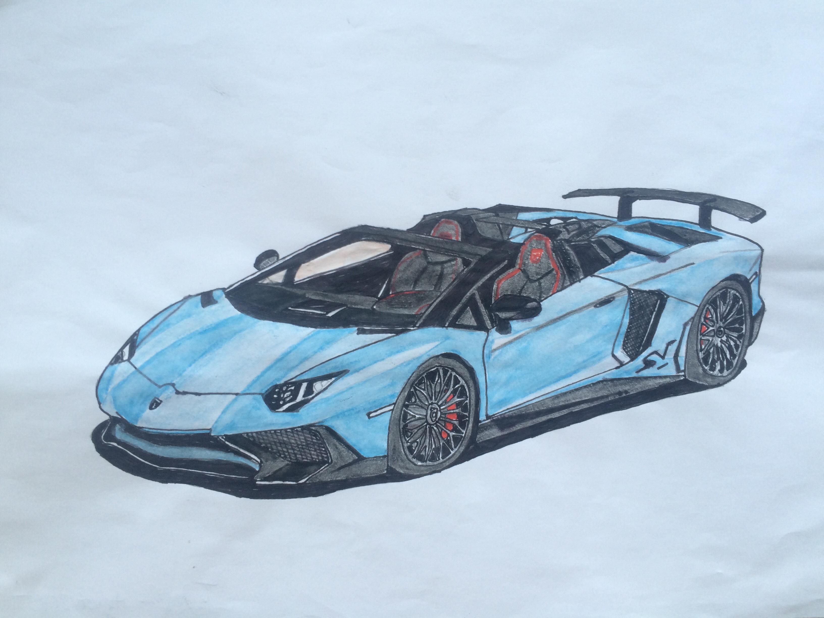 My drawing of the Lamborghini Aventador SV Roadster