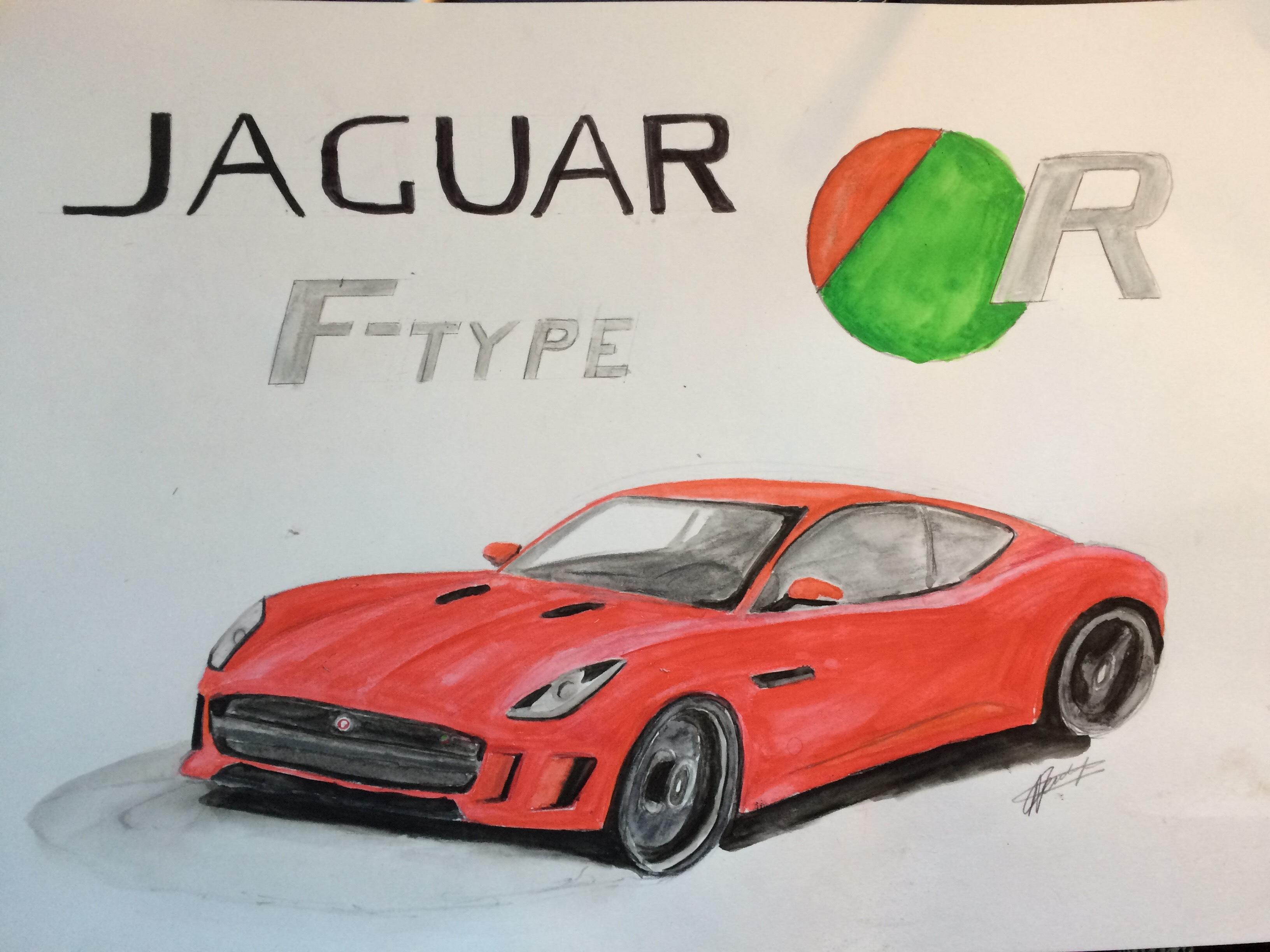 Jaguar jaguar f type r watercolour pencil drawing car art