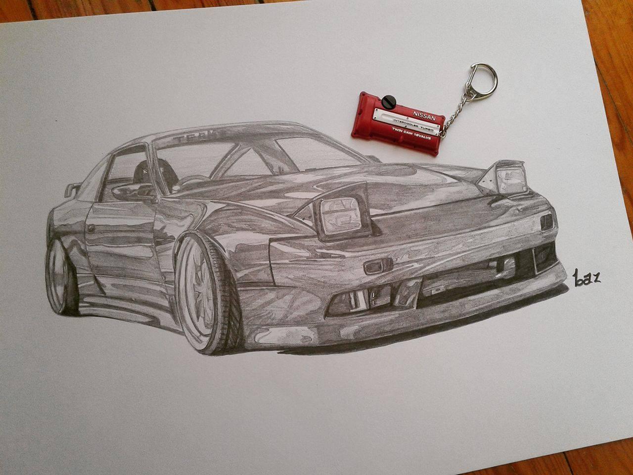Nissan 180sx Drawing Car Throttle Sr20det Keychain 1500 Ish Hp
