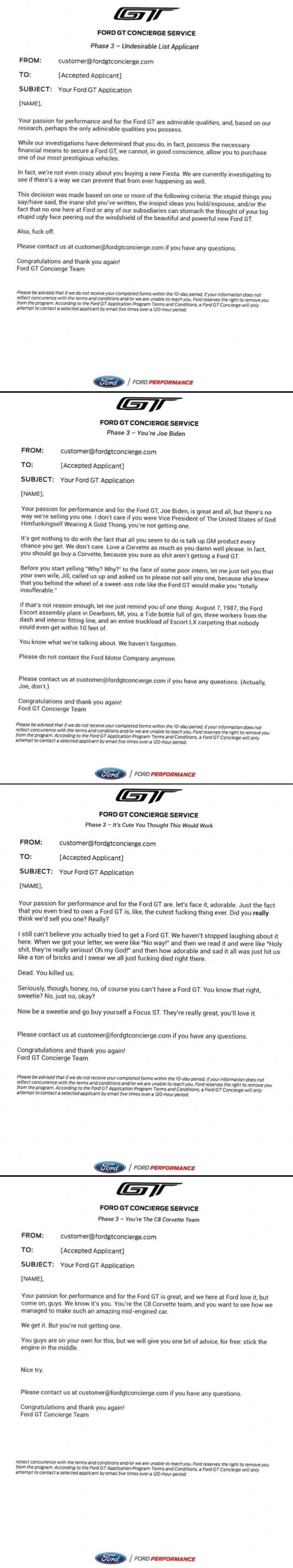 Ford If Jalopnik Wrote The Ford Gt Rejection Letters Memes