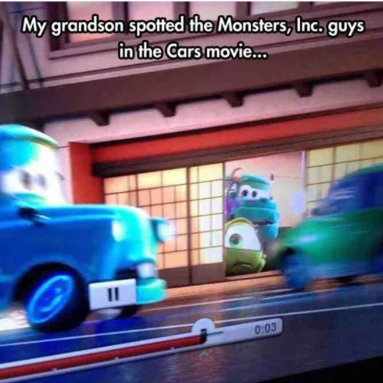 Spotted Monster Inc Characters in Cars Film