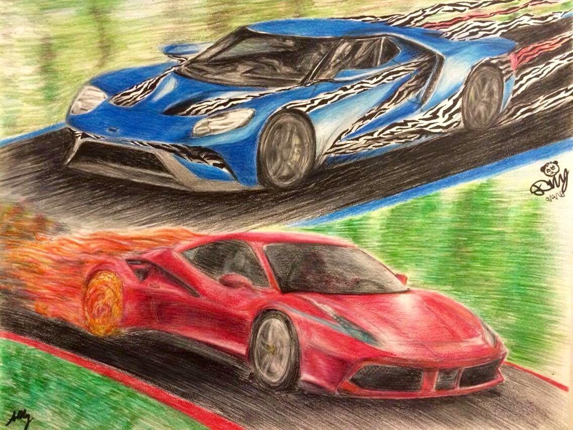 Ford Ford Gt Vs Ferrari  Gtb Art Collaboration Car Art