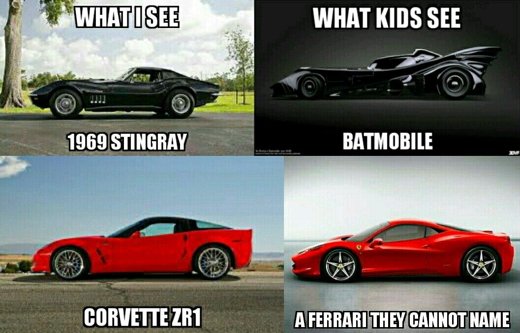 Kid Logic Black Car Batmobile Red Sports Car Ferrari