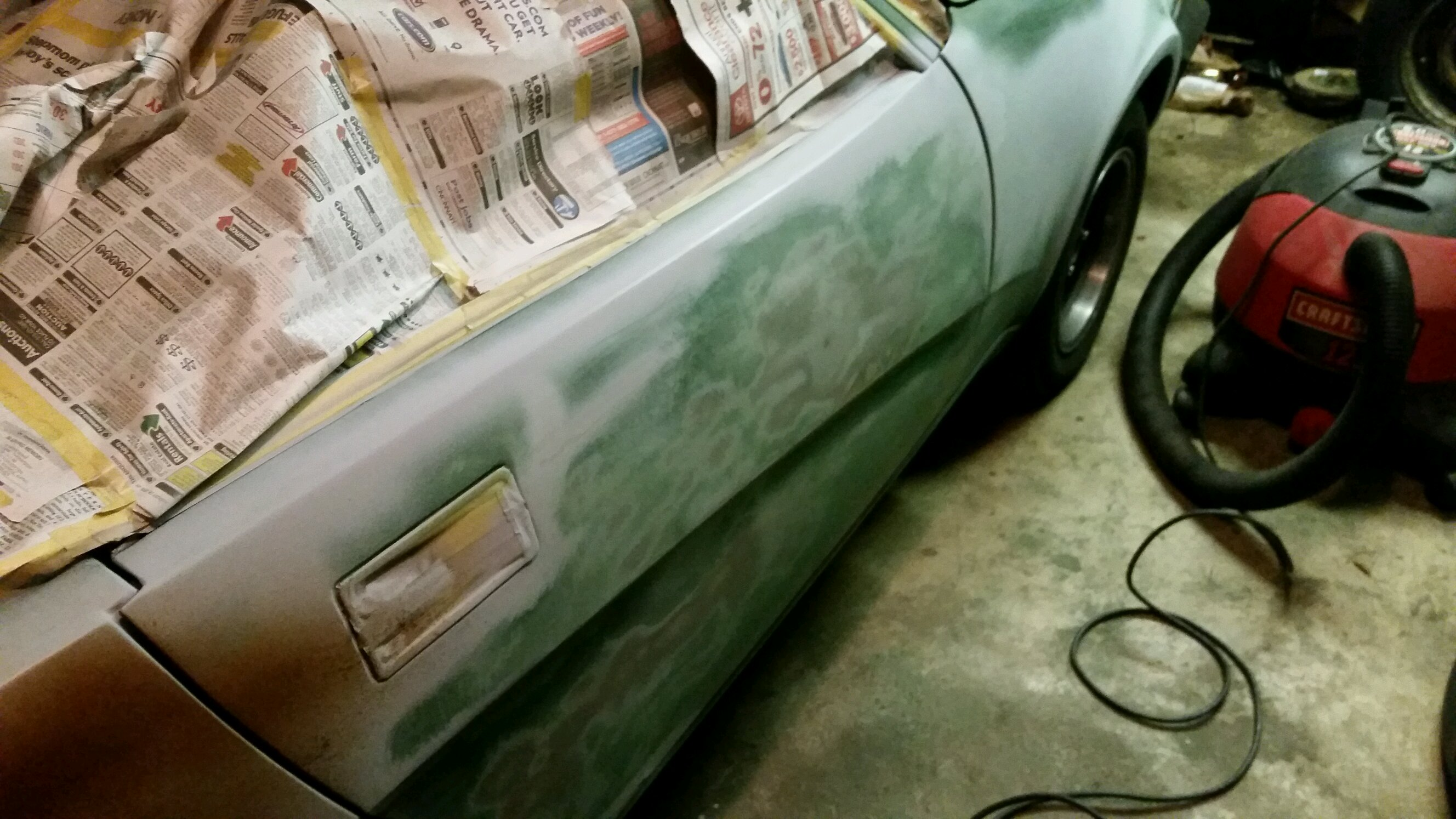 I got the door sanded and some of the color down to se what it ...