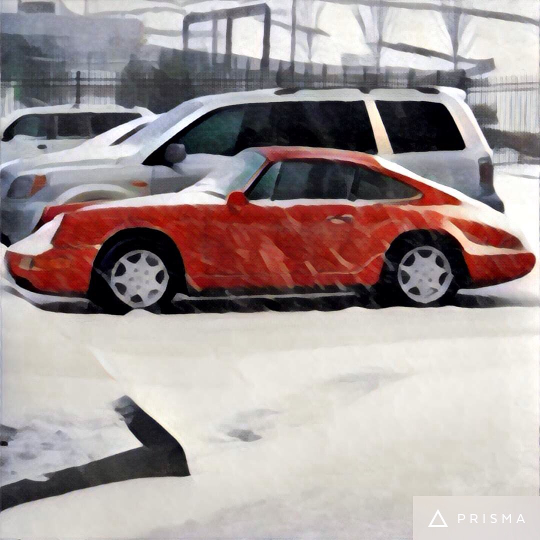 Old Porsche Covered In Snow Prisma
