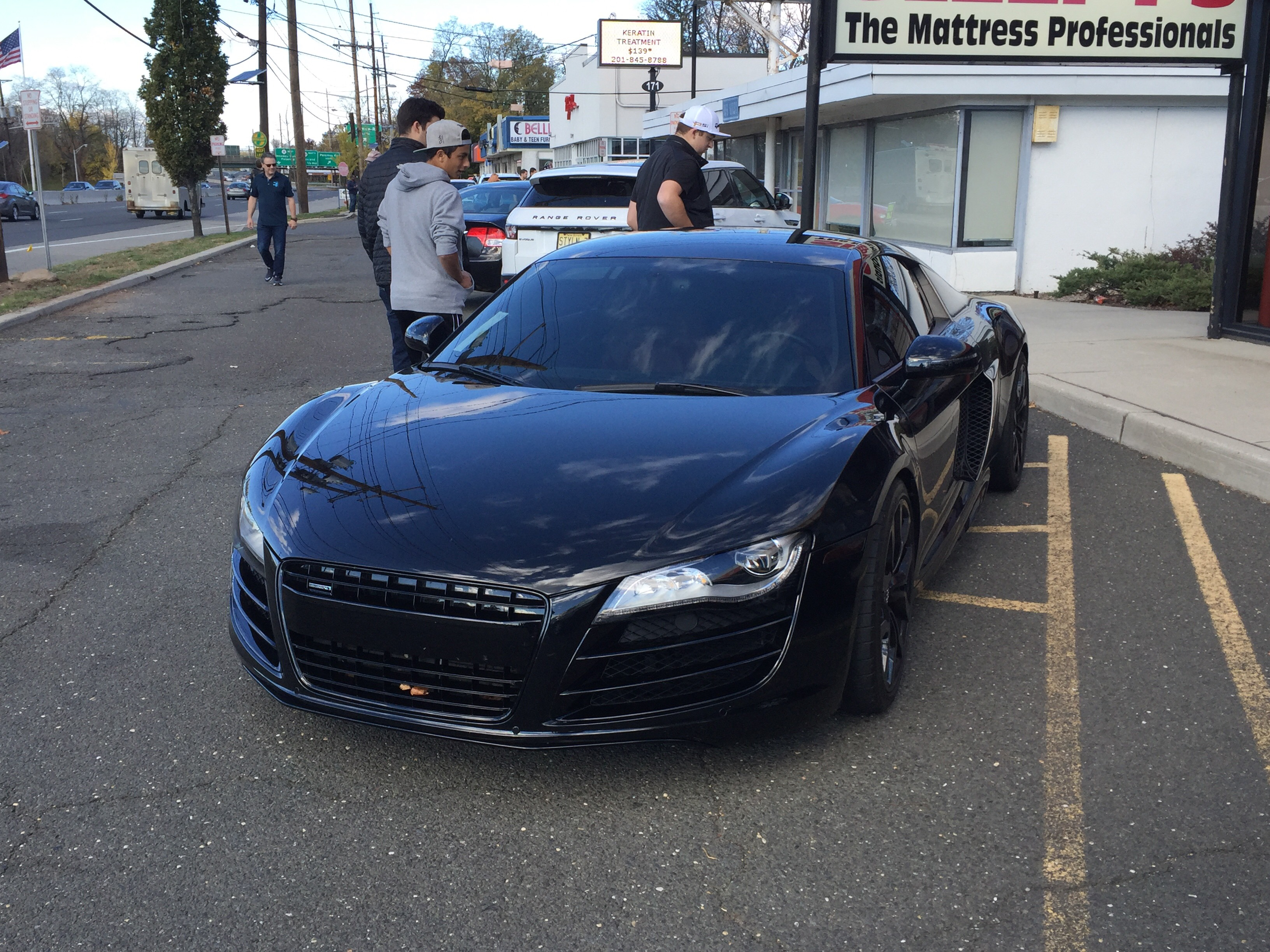 nice blacked out audi r8 at cars and caffe